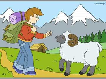 Meeting with a sheep - Arrange the puzzles and say what you see in the picture