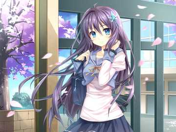 Anime Girl - Beautiful Anime Girl in front of the building