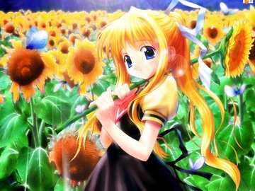 Anime with Sunflower - Beautiful Anime with sunflower :)