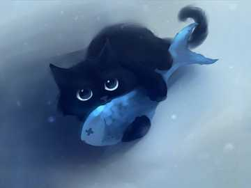 Kitty with fish - The little kitty hugs the fish :))) LOVE IS Eternal !!! xD