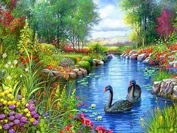 In un giardino da favola - Un bellissimo giardino con un laghetto e un piccolo ponte :) Il tuo Zuzusia LPS