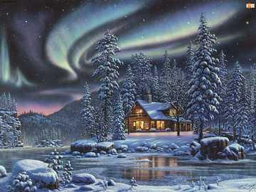 Aurora boreal - Όμορφη αύρα πάνω από το σπίτι