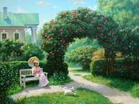 The lady with the doggie - Woman, dog, house, garden, flowers
