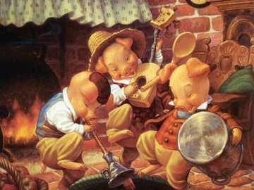 I tre porcellini - Maiali, fiabe, casa, balli, musica, piatti.