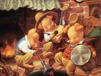 The three Little Pigs - Pigs, fairy tales, house, dancing, music, dishes.