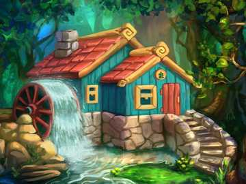 Dom w lesie - Dom, las, drzewa, woda, koło wodne.