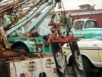 veículos em campo - Reboque de Cappy, caminhões de reboque, ferrugem, veículos, Ballard, Seattle, Washington, EUA. Bal