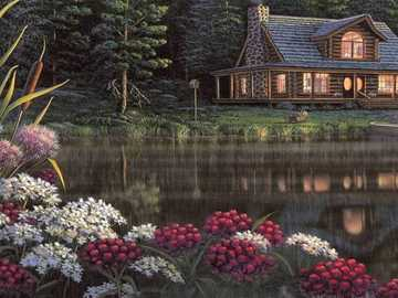 Painting. - Painted wooden house by the pond.