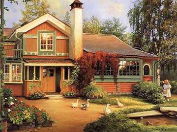 Piękny dom - Dom, podwórko, dziecko, całe, kwiaty, drzewa.