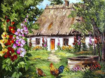 country life - oil painting depicting rural idyllic atmosphere