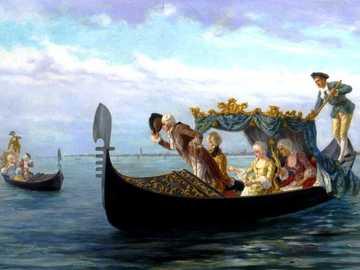 greeting - Canoe, paddle boat, nobility, women, men, bay, water