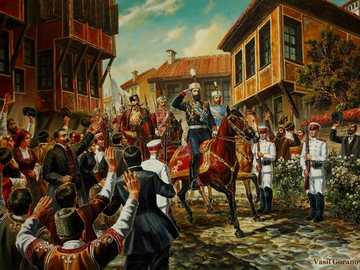 Unification of Bulgaria - Painting by the artist Vasil Goranov, presents a scene from the events related to the Union of the P