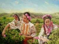Girls pick roses - Painting by Julia Buzilova