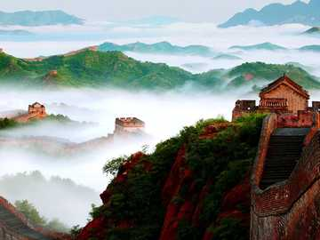 Great Wall of China in the fog - The Long Wall of China