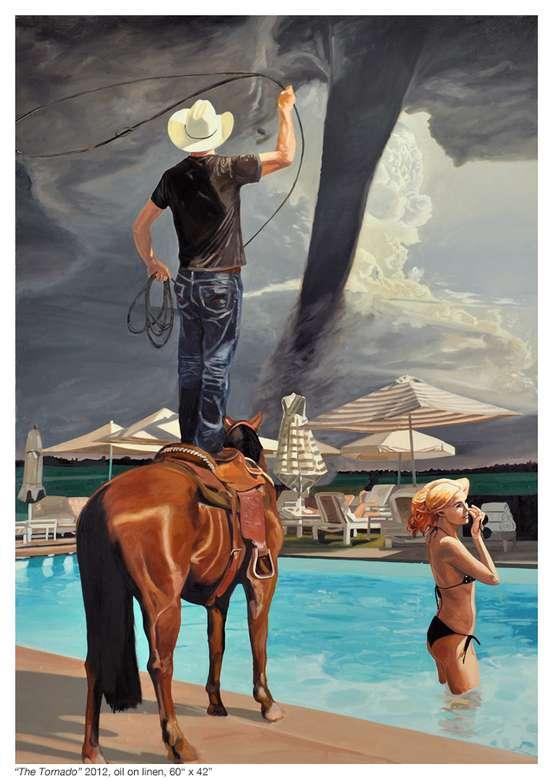Een tornado - Tornado, man, vrouw, paard, zwembad, lasso, huizen, Amerikaanse kunst