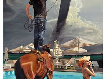 A tornado - Tornado, man, woman, horse, swimming pool, lasso, houses, American art