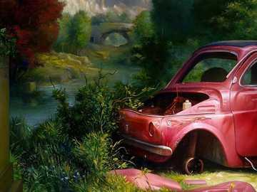 Krajobraz z samochodem - Krajobraz, fragment, samochód, złom, drzewa, most, góry, sztuka współczesna,