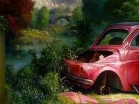 Landschaft mit Auto - Landschaft, Fragment, Auto, Schrott, Bäume, Brücke, Berge, Moderne Kunst,