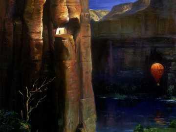 O desfiladeiro da águia - Canyon, Águia, Montanha, Rio, Balão Voador, Arte Moderna
