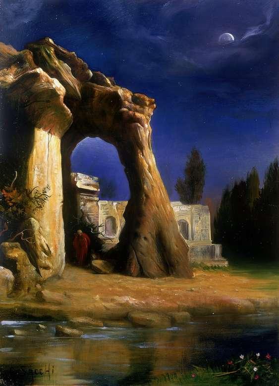 Μετα-αποκάλυψη - Τρομακτικό μέρος, ερείπια, νύχτα, ποτάμι, δέντρα, μοντέρνα τέχνη (11×15)