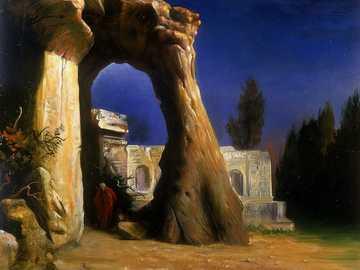 Post apokaliptyczny - Niesamowite miejsce, ruiny, noc, rzeka, drzewa, sztuka współczesna