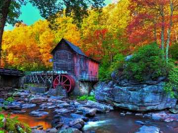 Old Mill On The River - Old mill on the river, stones, forest