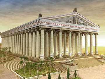 templul lui Artemis - cel mai mare templu al antichității - construit în Efes