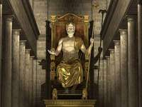 La statue de Zeus l'Olympien - Dans le temple de Zeus - construit vers 435 av. - sculpté par Phidias