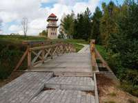 Stare Juchy - Entrance to the lookout tower in Stare Juchy