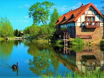 A house by the lake - House on the lake, Black bird. Mazury