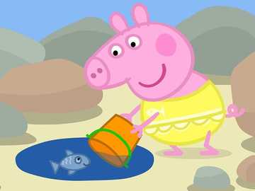 Peppa pig on the beach - Super puzzle for children. category easy, 15 elements