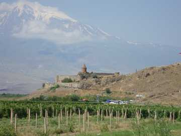 Armenia - Monasteries - Khor Virap Monastery - 17th century. Mount Ararat in the background