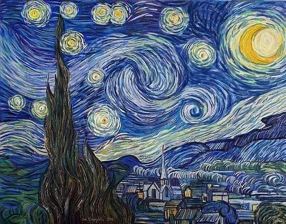 Nuit étoilée - Starry Night est le chef-d'œuvre du peintre post-impressionniste Vincent Van Gogh. Situé au MoMA (14×11)