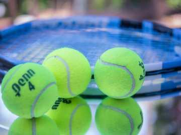 Sfere di tennis con la fine della racchetta in su. - pallina da tennis verde su rete blu e bianca. Palm Springs, California, Stati Uniti