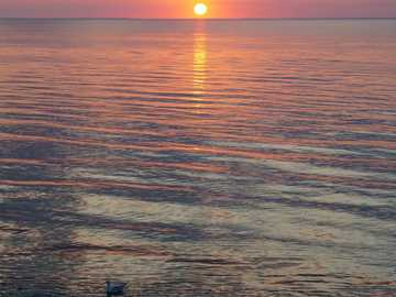 Dnipro Sunset - calm body of water during horizon. Dnieper River