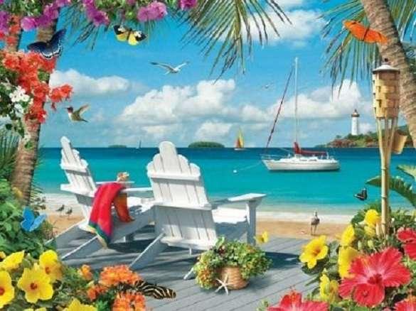 Nyaralás a tengerparton - Puzzle: nyaralás a tenger mellett (12×9)