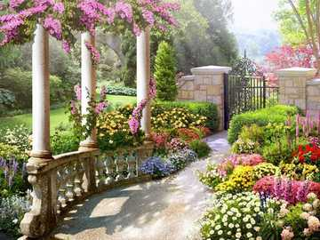 In a romantic garden. - In a romantic garden.