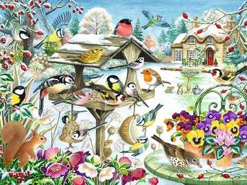 Birds in the winter. - Puzzle: canteen for birds.