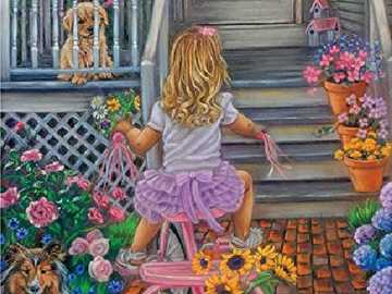 A child outside the house. - Jigsaw puzzle for children: in front of the house.