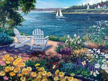 The lake garden. - Puzzle: garden on the lake.