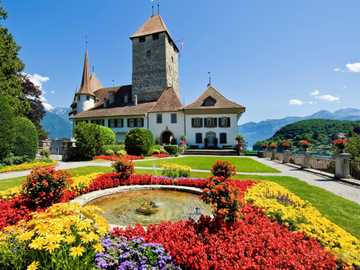 Castle With Mountain View, Switzerland - Castle With A View Of The Mountains, Flowers. Switzerland