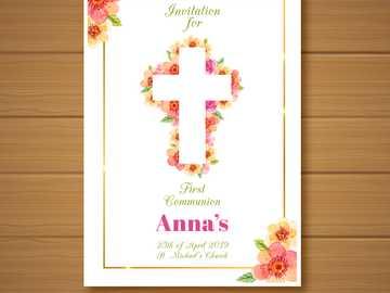 cruz de comunion - tarjeta de comunion de ana