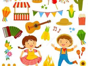 Fête de juin - Puzzle Festa junina pour cours d'art.