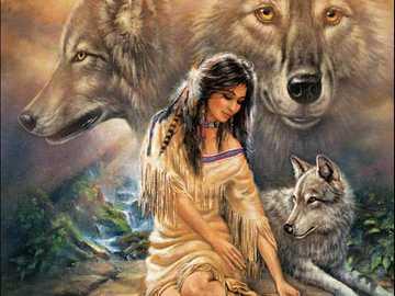 Prawdziwa przyjaźń - Dziewczyna Cherokee i jej przyjaciel wilka
