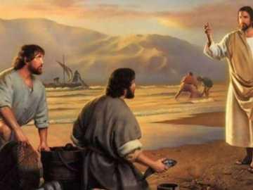 Pan Jezus i uczniowie - Pan Jezus i uczniowie nad jeziorem Genezaret