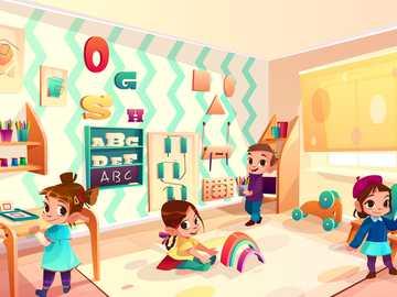 Kindergarten - Children in the preschool room