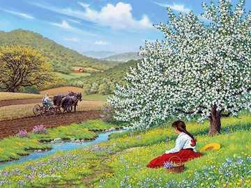 Wiosna na wsi. - Układanka. Wiosna na wsi.