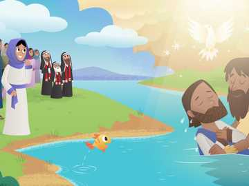 Baptism of Jesus - Sort the pieces and find the image about the baptism of Jesus.