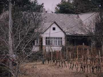 maison blanche et grise et arbres dénudés - Une belle maison au bout de la rue dans un petit village. Cejkov, Slovensko