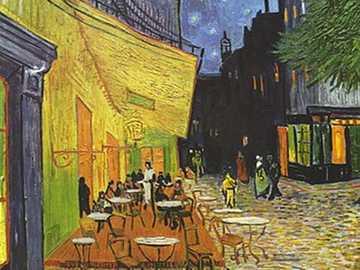 Tarasowa kawiarnia w nocy - Holenderskie malarstwo Vincent van Gogh wykonane we wrześniu w Arles, przedstawiające atmosferę t